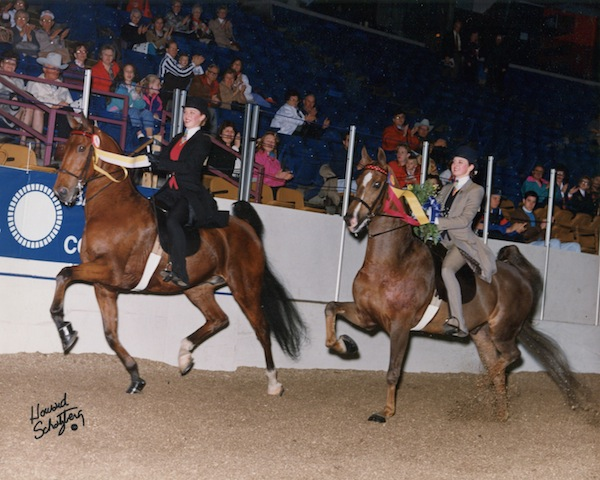 A double victory pass -- just one of the great moments that happened during the 1992 AHSA Medal Finals when champion Emily Swanson switched horses with her barn mate and best friend.