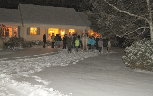 In 2013, Knollwood Farms youth club, the Knollwood Knockouts, had its own Christmas party, and even took two of the school horses caroling. Photo by Josh Hanna.