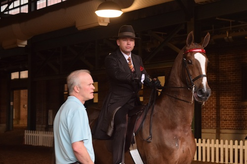 Robert Gardiner Bob Brison and Three Gaited 15.2 Under Champion Callaways Blaire waiting for the gate to open.