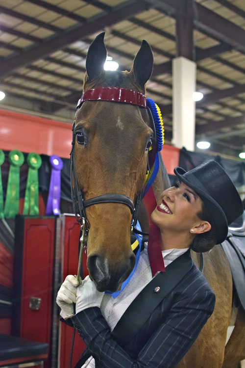 "Courtney McGinnis was brought to tears of joy by her UPHA Senior Challenge Cup National Championship win with CH-EQ Imagine My Surprise or ""Leo."""