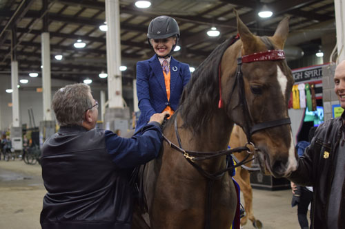 UPHA Exceptional Challenge Cup National Champion Maddie Patterson wanted to meeet actor and Saddlebred exhibitor William Shatner and got the chance on the walk back from her class.