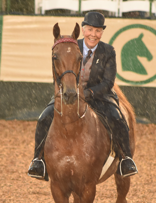 Vickie Byrd and Iconium braving the rain. Photo by Avis.