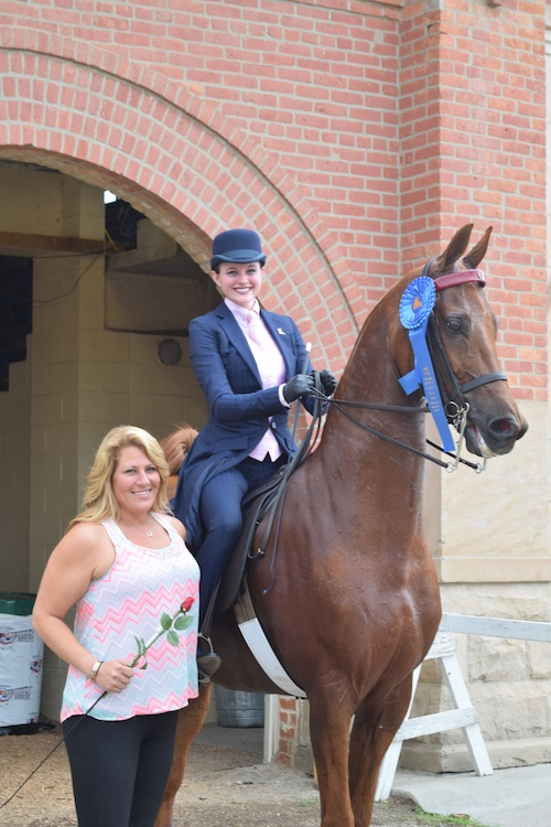 Saddle Seat Equitation 14 17 Champion Aleia Brown aboard her beloved Thomas. Thomas also carried trainer Erin Richey to the Trainers Equitation Cup win Thursday night.