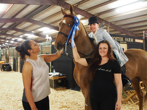 Whitney Shore and CH Harlem's Miss Abigail won the Junior Exhibitor Country Pleasure class for the second year in a row.