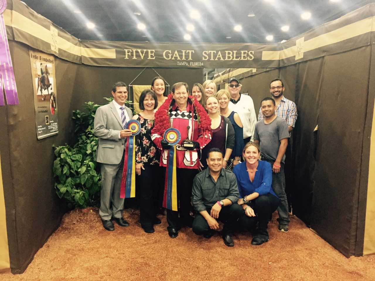 My wonderful Five Gait Stables team after my dad and IAMNOTACOW's championship win Friday night.